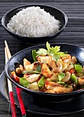 Sweet-and-sour chicken with a side of rice