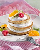Pancakes with vanilla quark and fruit
