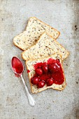 Toast with cherry jam