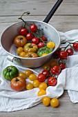 Bunte Tomaten im Stieltopf und auf weißem Tuch