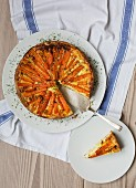 Carrot tart, sliced
