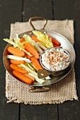 Carrots and celery with a blue cheese dip