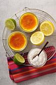 Crème brûlée with lemons and limes