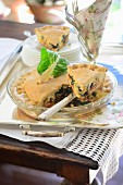 Chard pie with pine nuts on a table outside