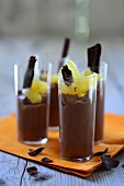 Chocolate mousse with orange fillets