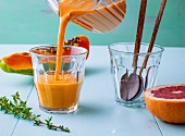 Papaya and coconut smoothie with Chinese cabbage and coconut water