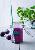 Blueberry and damson lassi with chia seed gel and lupine yoghurt