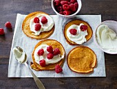 Buttermilk pancakes with quark and raspberries