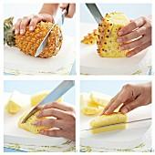 Ananas schälen und in Spalten schneiden