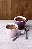 Almond milk pudding with chia and soya and chocolate pudding (simple glyx)