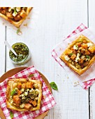 Puff pastry tartlets with roasted butternut squash and feta cheese