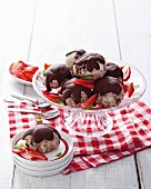 Vanilla ice cream tartufos and chocolate muffins with chocolate glaze