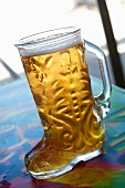 Beer in boot glass (Puerto Vallerta, Mexico)