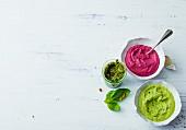 A trio of hummus, beetroot and green peas (vegan)