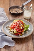 Tomato and pear salad with sunflower seeds (post fasting)