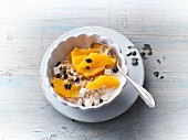 Amaranth muesli with silken tofu and oranges