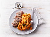 Pork medallions with mashed sweet potatoes