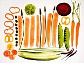 Sliced vegetables on a glass platter