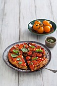 Tomato tarte tatin on a plate