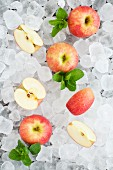 Pink Lady apples with fresh mint on ice