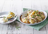 Cauliflower gratin with turkey breast and cream cheese