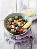 Greek country salad with grilled halloumi