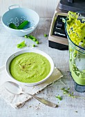 Pea soup with silken tofu and thyme