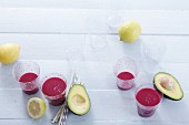 Beetroot smoothies with avocado, ginger and lemon juice