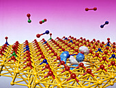 Catalytic converter at work on molecules