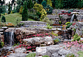 Rockery with cascading stream feature