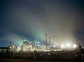 Lucite factory in mist