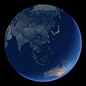 East Asia at night,satellite image