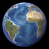 Atlantic Ocean,topographic map