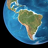 South America,topographic map
