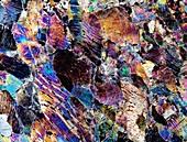 Pyroxenite rock,light micrograph