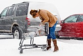 Shopping in heavy snow