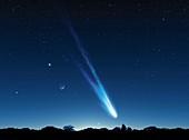 Comet in the night sky,artwork