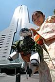 Walking an AIBO robot dog