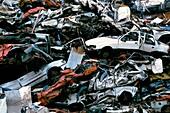 Crushed cars at a scrap yard