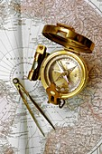 Compass and dividers on a map