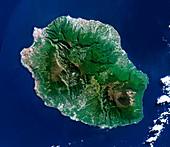 Reunion volcanoes,satellite image