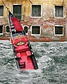 Gondola sinking,Venice,Italy