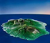 Reunion volcanoes,3D satellite image