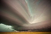 Supercell thunderstorm over fields,USA