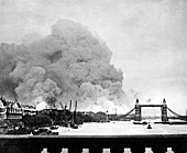WWII docklands fire,London's East End