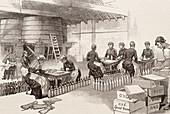 Whiskey bottling,historical artwork