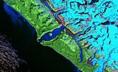 Lituya Bay tsunami damage,Landsat image
