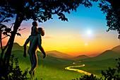 Human evolution and supernova,artwork