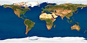 World map,satellite image