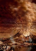 Ice volcano eruption on Titan,artwork
